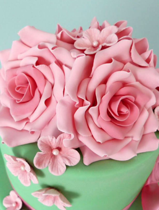 Green and Pink Wedding Cake by Little Touches