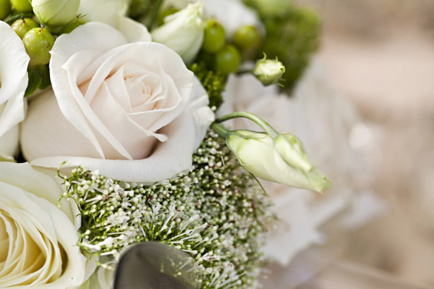 White rose bridal wedding bouquet