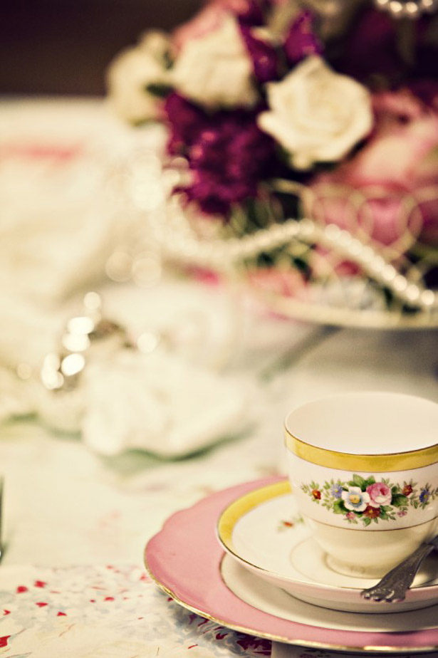 Vintage tea cup at Anna and Gavin's real wedding