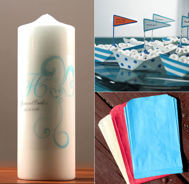 Blue themed pillar candles metal boats and paper favour bag