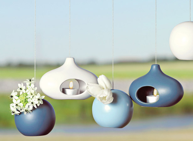 Blue themed hanging candle holders