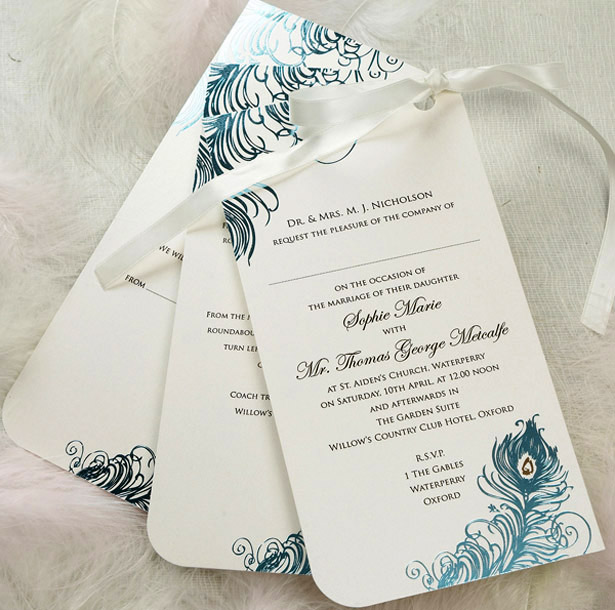 Blue themed wedding invitation