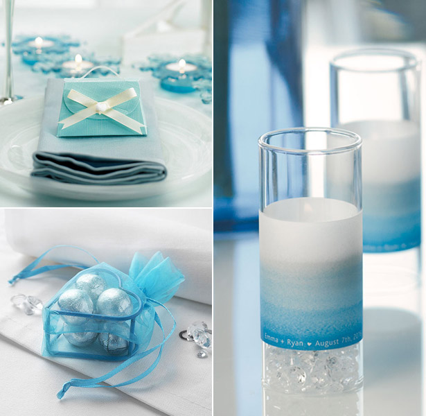 Blue themed favour boxes luminary wrap and organza bag