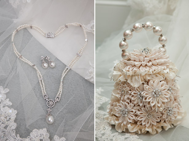 Bride's Jewellery And Bag with Flowers and Pearls and Silver