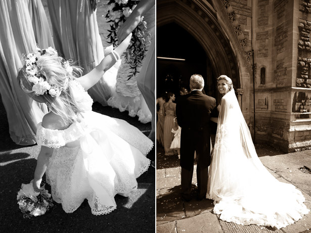Flowergirl and Bride With Father