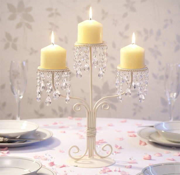 Cream and Crystal Candle Stand