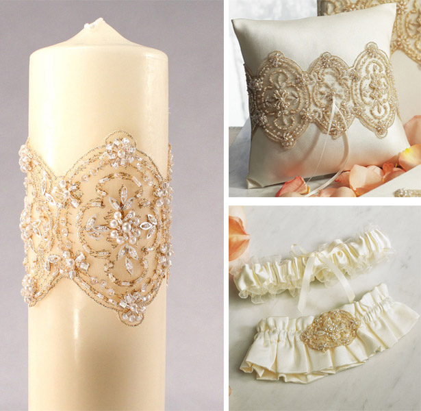 Cream and gold jewelled Beverly Clark Unity Candle, Ring Pillow and Garter Set