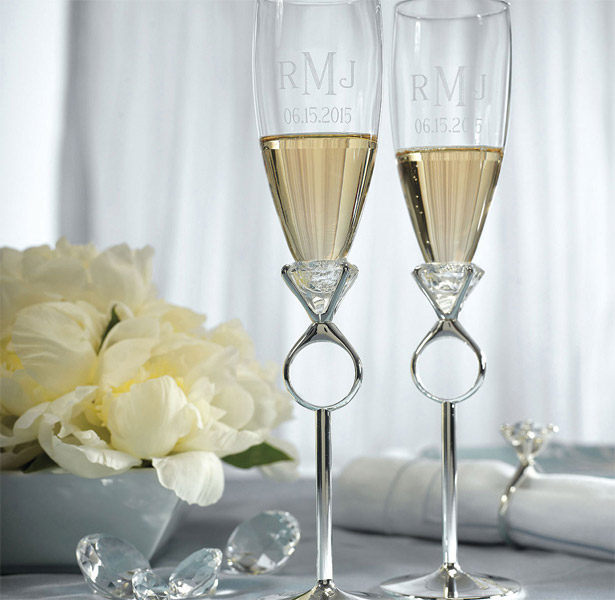 Diamond Ring Twin Champagne Flutes