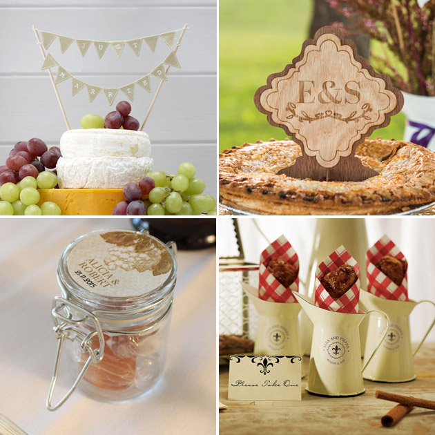 Rustic theme cake bunting wood veneer sign mini decorative pitcher and mini glass bottle with wire snap