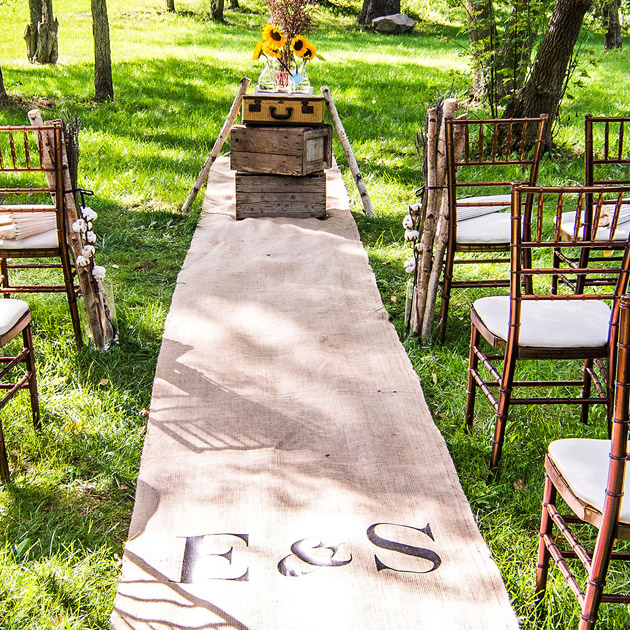 Rustic themed personalised burlap aisle runner