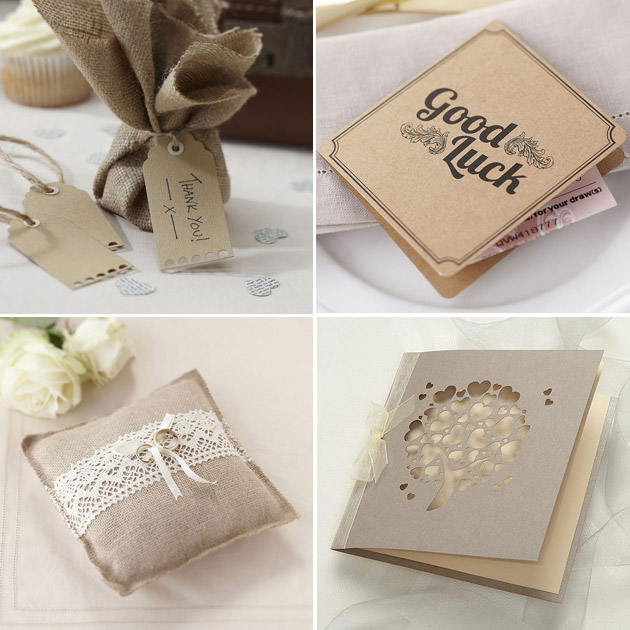 Rustic themed luggage tags ticket holders DIY invitation kit and ring cushion