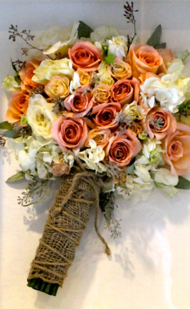 Professionally preserved wedding bouquets orange and white