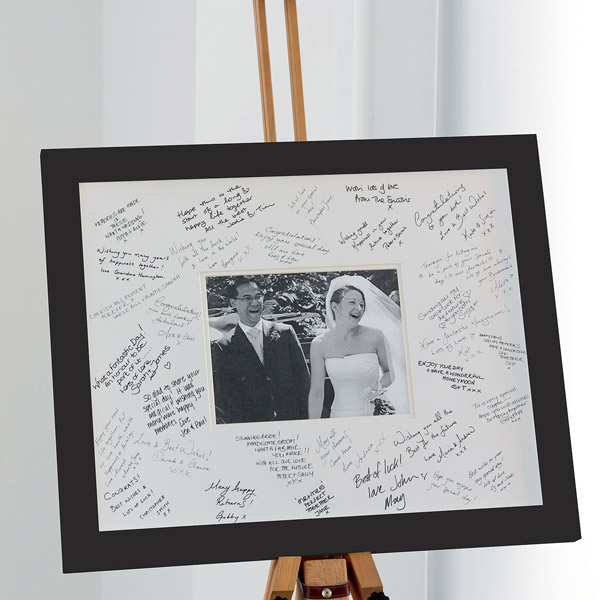 Black and white signing frame
