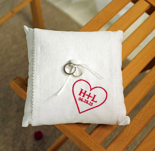 Personalised heart ring cushion
