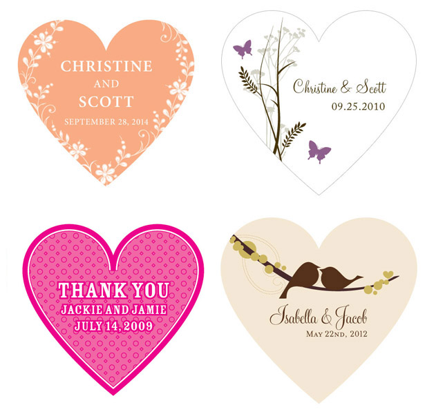 Personalised heart stickers