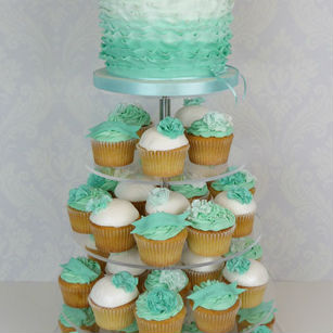 Green and white cupcakes