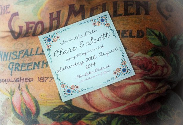 Clare and Scott real engagement save the date card