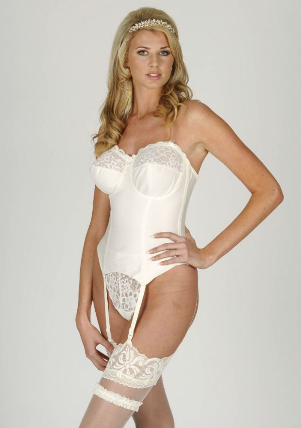 Bridal basque with stockings and garter by The Bra Closet.