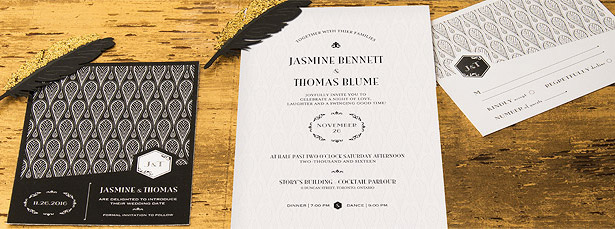 Art Deco Laser Embossed Invitation with Black and Gold Opulence Personalisation