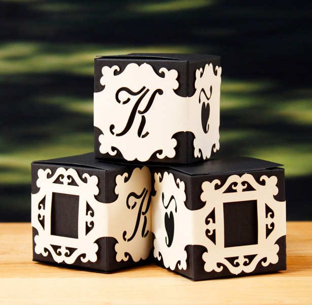 Personalised monogram baroque box wraps