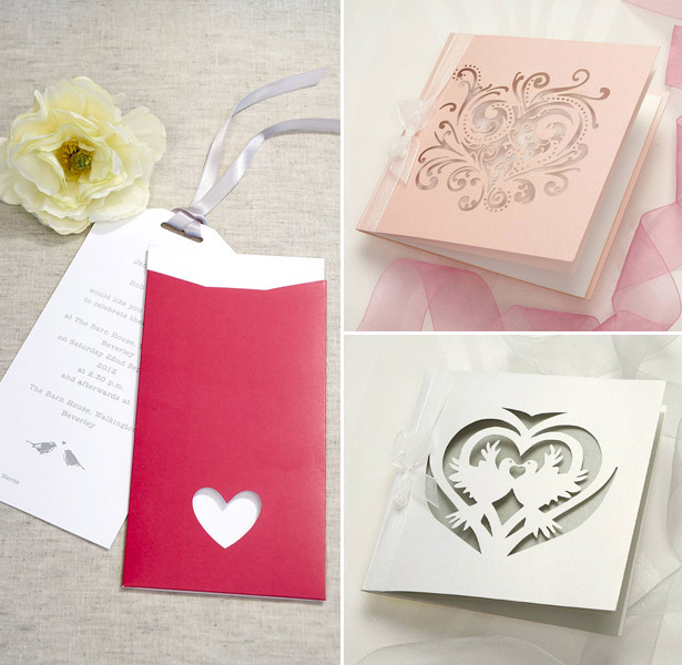 Pink and white ornate laser wedding invitations and tag