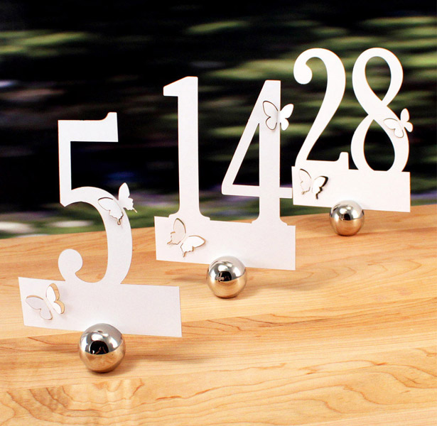 White butterfly laser decorated wedding table numbers