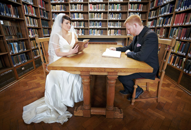 bride groom library reading