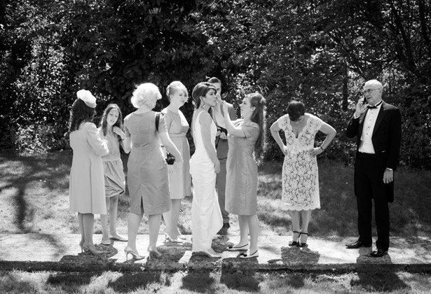 bride bridal party black and white