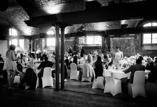 wedding guests black and white reception