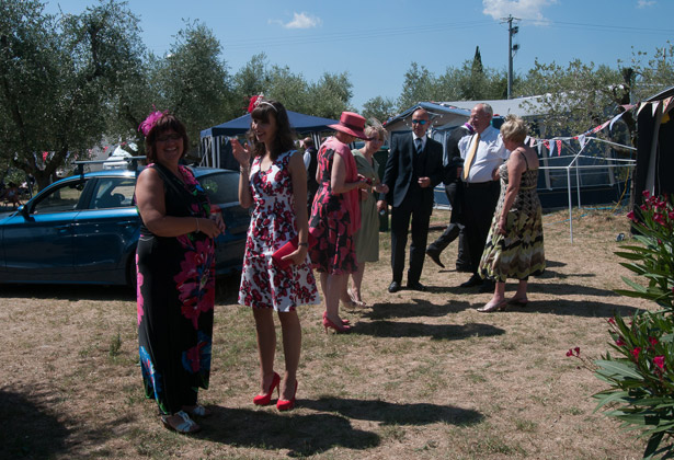 Wedding guests at campsite