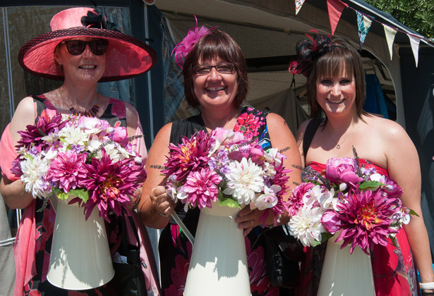Wedding guests with wedding flowers