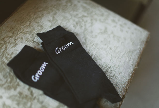 Black 'Groom' socks