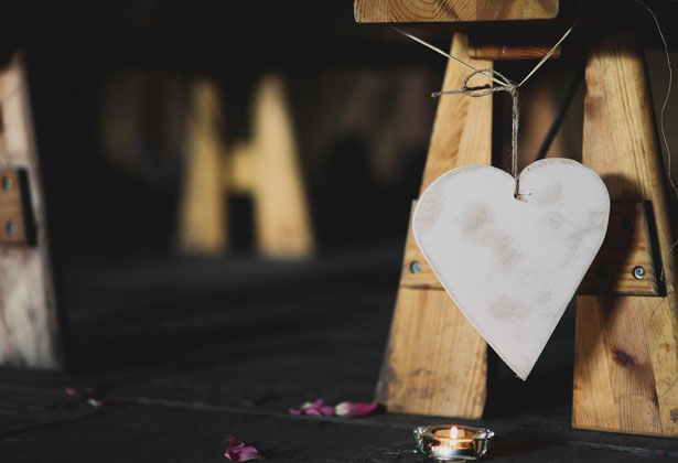Wooden heart aisle decoration