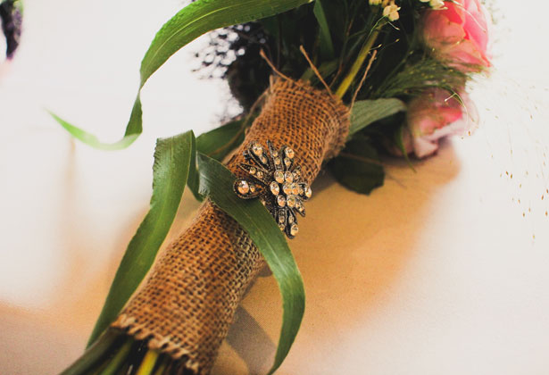 Burlap handle wrapped brooch bouquet