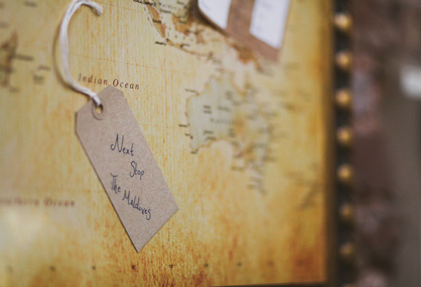 Travel inspired table decoration