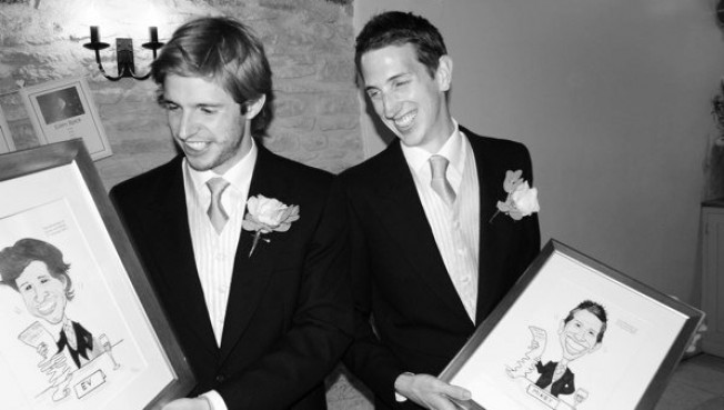 Groomsmen Monochrome Black and White Wedding Caricature