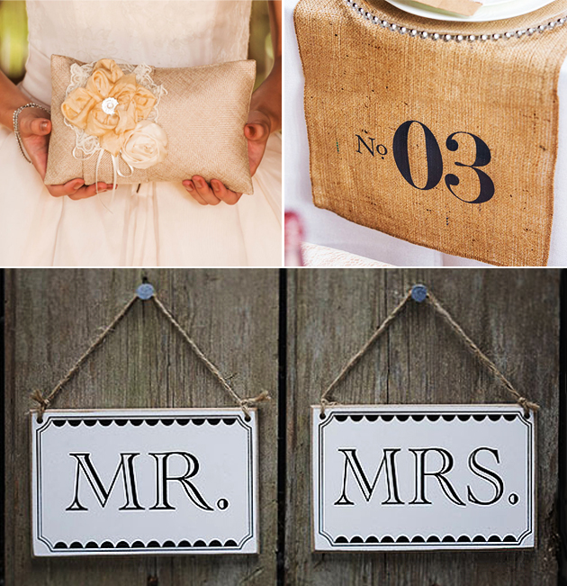 Rustic Shabby Chic inspiration moodboard with Ring Cushion, Table Runner, and Chair Signs