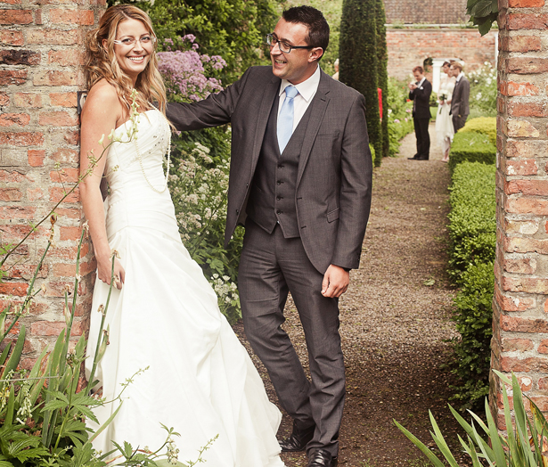 Bride and Groom in Bridal Eyewear by Karen Louise