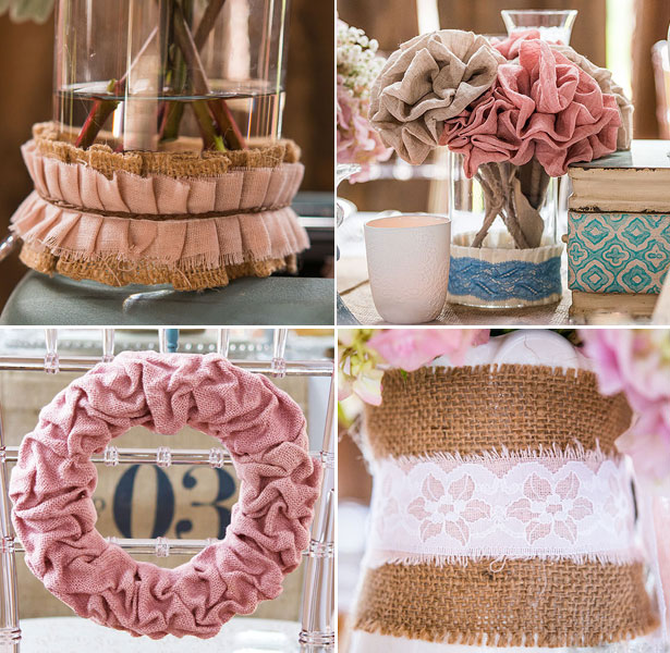 Rustic Shabby Chic wedding theme ruffled fabric, lace, ribbon, trim, and stationary charms