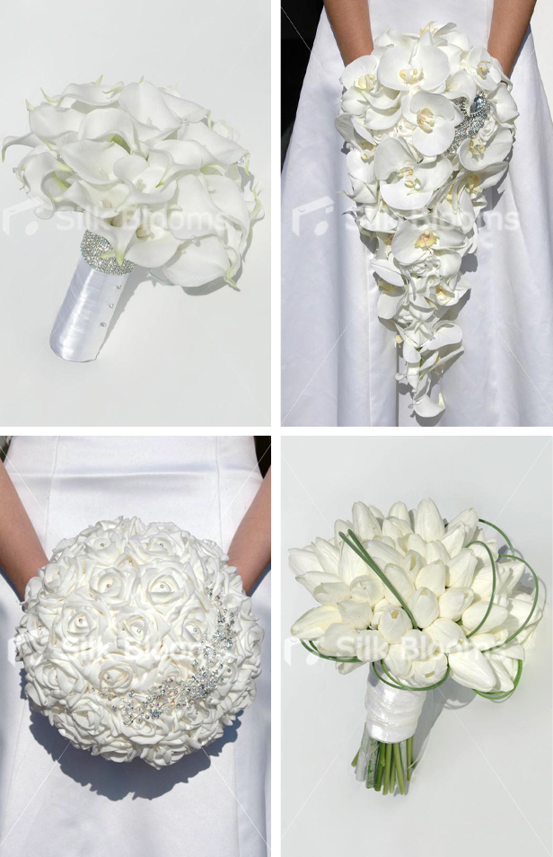 Silk Blooms minimal spring wedding white flower bouquets with lily, orchid, rose and tulip