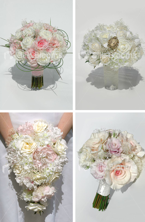 Silk Blooms vintage spring wedding flower bouquets with roses, peonies, ranunculus and hydgrangeas