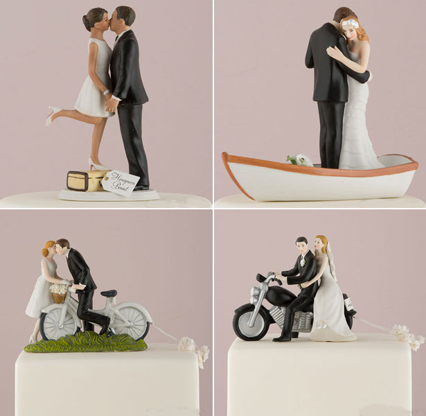 Travel inspired wedding cake toppers