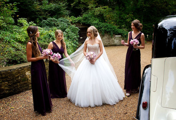 The bride and bridesmaids outside the venue