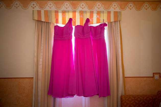 Asymmetric pink bridesmaid dresses