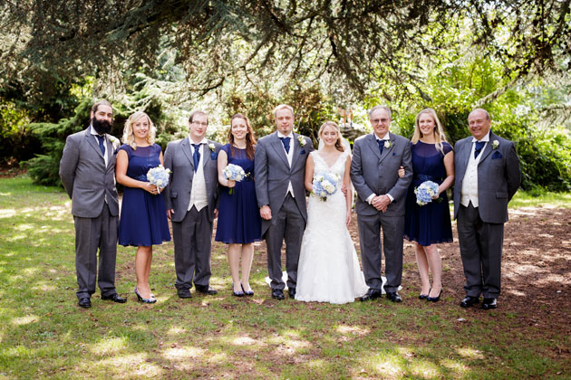 The bride and groom with their friends and family