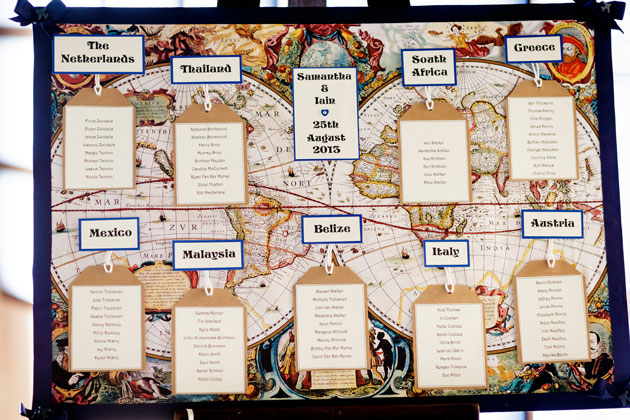 Travel inspired table plan