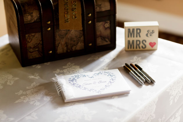 Travel chest and white guest book