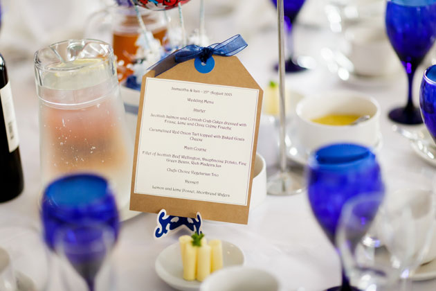 Blue and white themed wedding table decor