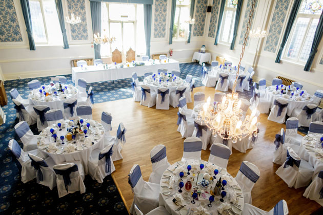 Blue and white themed wedding reception