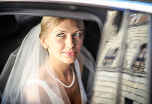 Bride on her way to the ceremony